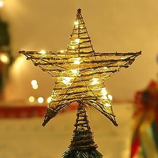 Lewondr Rattan Natural Christmas Tree Topper, Decorative Xmas Tree Topper Star Treetop Beautiful Star Light with Springy B...