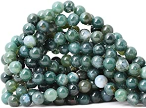 CHEAVIAN 45PCS 8mm Natural Moss Agate Gemstone Round Loose Beads for Jewelry Making DIY 1 Strand 15