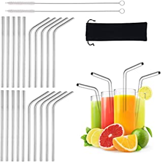 BGMAXimum 20 Pack Reusable Stainless Straws, 6-inch Short Drinking Straw Stainless Steel, Portable Straw for Cocktails Travel Kid, Metal Cocktails Straw With Cleaning Brush and Carry Bag