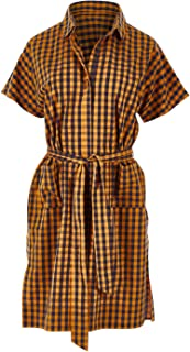 Handpicked by Birds Womens Knee Length Dresses Tie Waist Pocket Dress Check