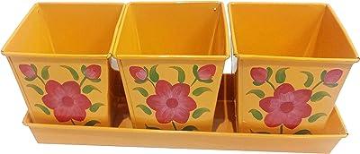 CRAFT ART INDIA Planters|Pot|Tray|for|Home|Garden|Balcony|Railing (Light Orange)