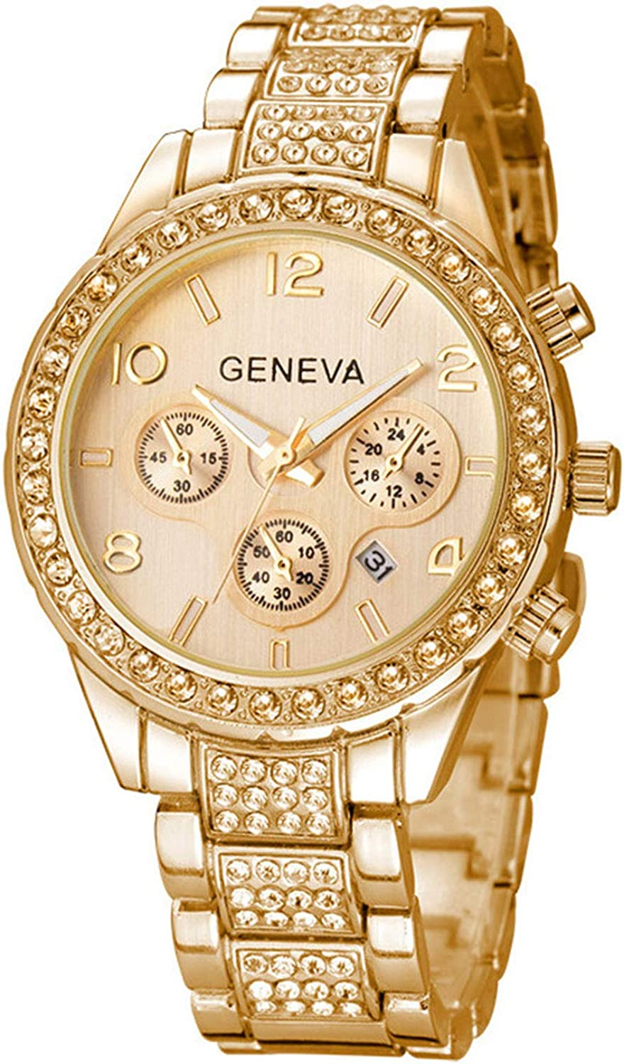 Luxury Max 69% OFF Unisex Watch Crystal Quartz Silver Calendar Gold Stainles Seattle Mall