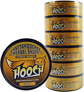 (6)Six Chattahoochee Hooch Herbal Snuff Cans 1.2oz/34g - CLASSIC - No Tobacco, No Nicotine