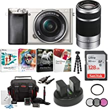 Sony Alpha a6000 Mirrorless Camera w/16-50mm & 55-210mm Lenses & 128GB Bundle - Silver