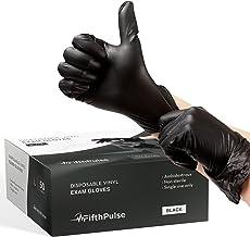 FifthPulse Disposable Vinyl Exam Gloves - Black - Box of 50 - L