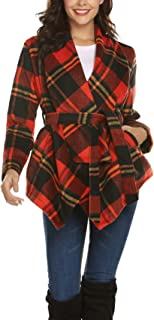 Stylish Women's Asymmetric Hem Wool Wrap Coat Turn Down Collar Warm Elegant Jacket