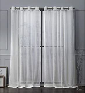 Nicole Miller Iceland Sheer Grommet Top Curtain Panel, Snowflake, 54x84, 2 Piece