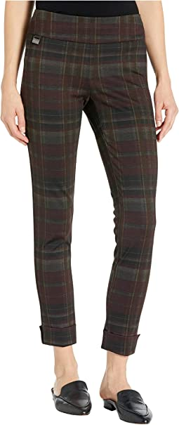 Ibiza Plaid Print Ankle Pants w/ Cuffs