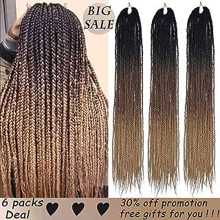 Box Braids Crochet Hair Extensions 100g 30Roots/pcs Ombre Color Braiding Hair Synthetic High Temperature Fiber Box Braids 24Inch 6Pcak (Black-Deep Brown-Light Brown)