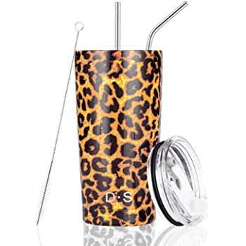 D·S 20oz Leopard Tumbler Stainless Steel Tumbler Vacuum Insulated Cheetah Animal Print Cup with Straw and Lid, Cleaning Brush for Cold and Hot Beverages