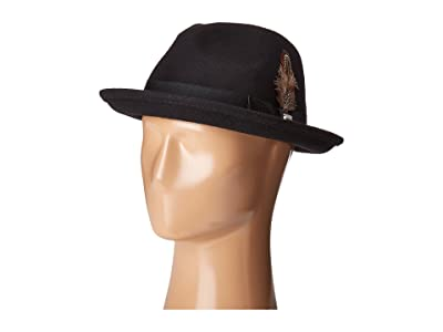 Stacy Adams Fedora with Matching Trim (Black) Fedora Hats