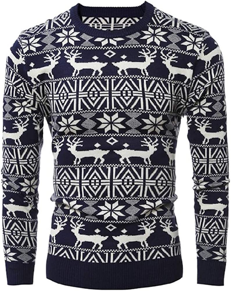 Round Neck Casual Men Long Sleeve Head 3D Print Deer Funny Thick