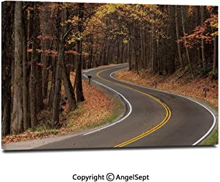 Canvas Prints Modern Art Framed Wall Mural Curvy Roadway Through The Forest Great Smokey Mountains Change of Seasons Traveling Wall Decorations for Living Room Bedroom Dining Room Bathroom Office,Mu