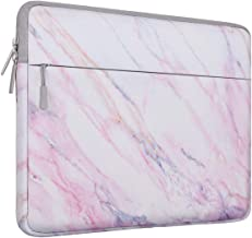 MOSISO Laptop Sleeve Bag Compatible with 13-13.3 inch MacBook Pro, MacBook Air, Notebook Computer with Accessory Pocket, Ultraportable Protective Canvas Marble Pattern Carrying Case Cover, Pink