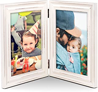 6x8-inch Rustic Double Folding Picture Frames, Wood Painted White, Mount Display for 6 by 8 inch without Mat or 4x6-inch Photos with mats, Portrait View Pictures and Vertical stand on Table Desk Top