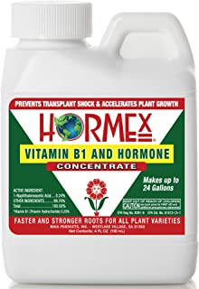 Hormex Vitamin B1 Rooting Hormone Concentrate | Prevents Transplant Shock | Accelerates Growth | Stimulates Roots | for All Plant Varieties and Grow Mediums Including Hydroponics (4 oz)