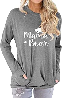 Women Mama Bear Shirt for Women Long Sleeves Loose Fit Casual Pullover Pocket