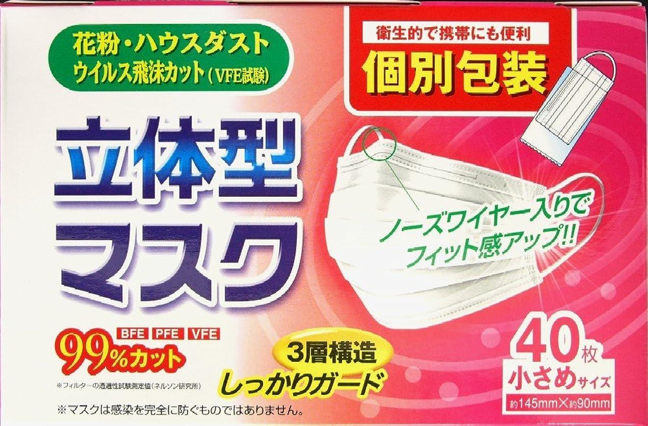 驚くばかり債権者気取らないリブ?ラボラトリーズ 立体型不織布個包装マスク 小さめサイズ (約145mmX約90mm)  40枚