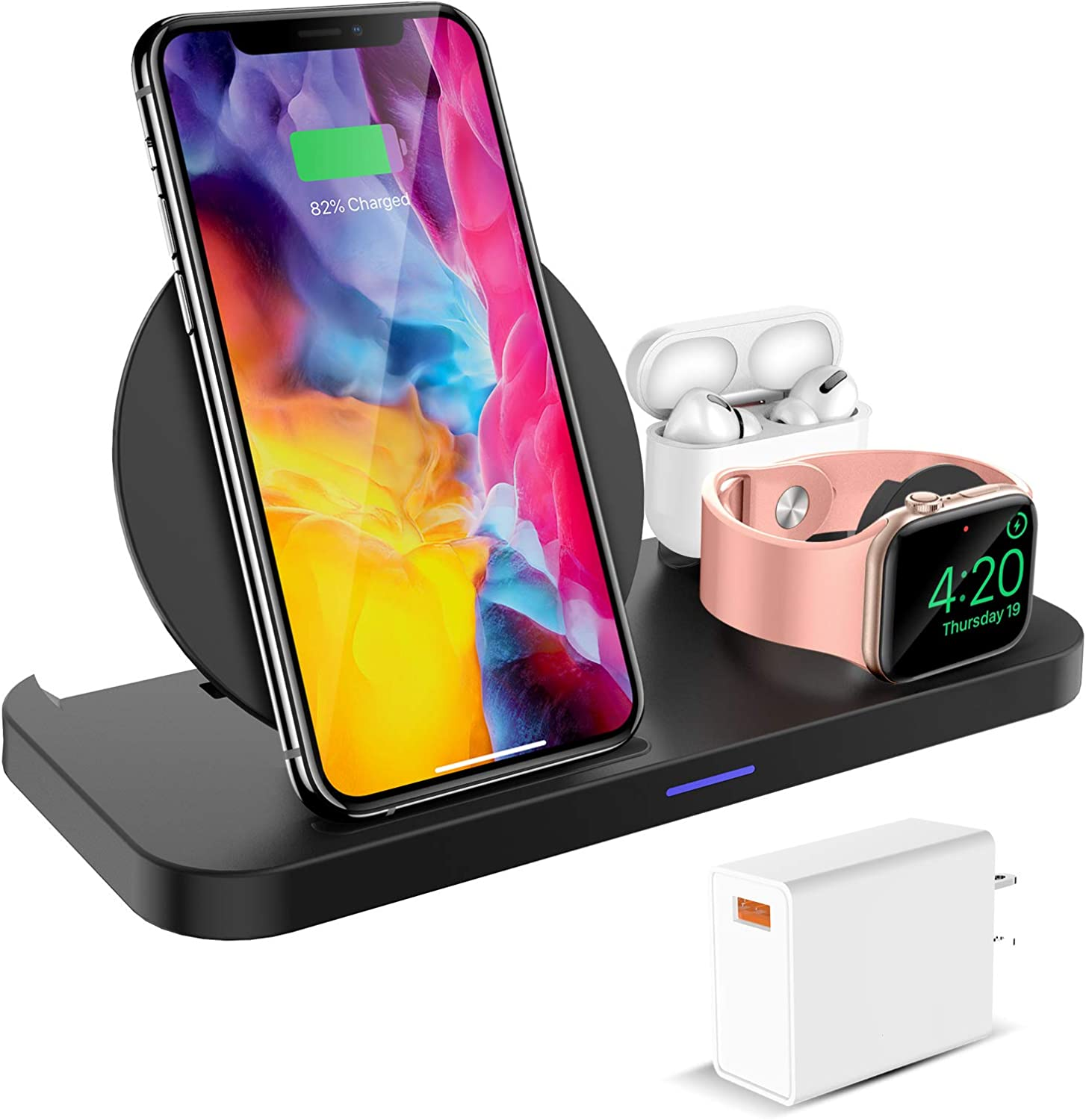 KKM Wireless Charger, 3 in 1 Wireless Charging Station, 10W Qi-Certified charging stand for iPhone 12/12 Pro/12 Pro Max/12 Mini/11 Pro Max/XS/8, Apple Watch, AirPods Pro(White QC 3.0 Adapter Included)