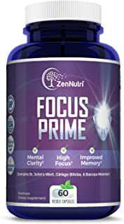 Focus, Memory, Clarity & Mood Support Brain Booster Supplement - Concentration Enhancer - Natural Vegetarian Nootropic Formula - Ginkgo Biloba, Bacopa Monnieri, St. John Wort & More - 60 Count