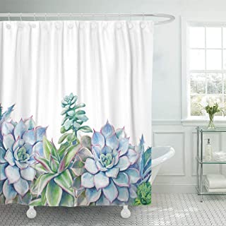 Emvency Fabric Shower Curtain with Hooks Flower Watercolor Succulents Hand Green Plants on White Artistic Floral Design Border Extra Long 72