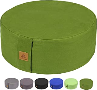 FelizMax Zafu Buckwheat Meditation Cushion, Round zabuton Meditation Pillow, Yoga Bolster, Floor Pouf, Zippered Organic Co...