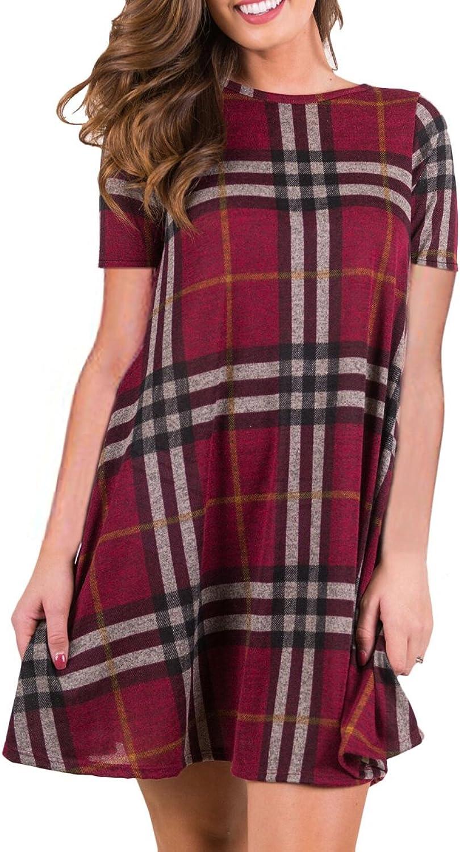 BOOSOULY Women's Short Sleeve Plaid Striped Pockets Casual Swing TShirt Dress Wine S