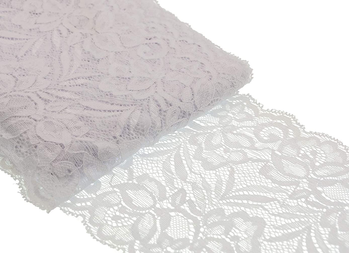 ATRibbons 10 Yards 6 Inch Wide Elastic Lace Trim Floral Pattern Lace Ribbon for Garment,Crafts and Gift Wrapping (White)