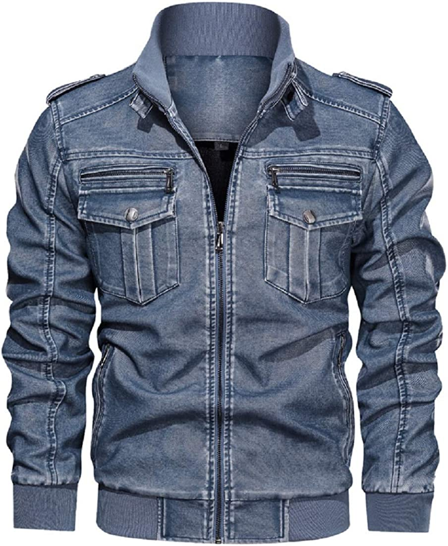 CHARTOU Men's Band Collar Faux Leather PU Distressed Slim Fit Bomber Moto Jacket