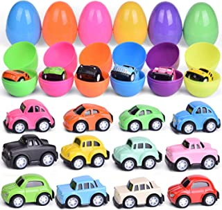 12 PCs Prefilled Easter Eggs with Pull Back Cars, Easter Basket Stuffers, Prefilled Easter Eggs with Toys Inside for Easter Party Favors, Kids Easter Gifts