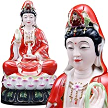 Classical Guanyin Buddha Statue Ceramic Enshrined Ornaments, Red-Robed Nanhai Guanyin Bodhisattva Statue, Home/Office/Livi...