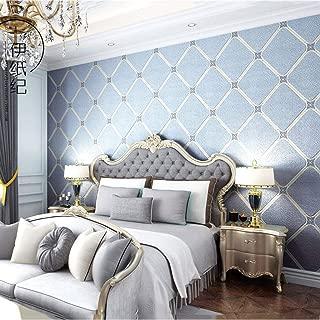 SHX bz Marble Checkered Wallpaper Modern Minimalist Deerskin Thick Waterproof Living Room Bedroom Tv Background (Color : Light Blue)