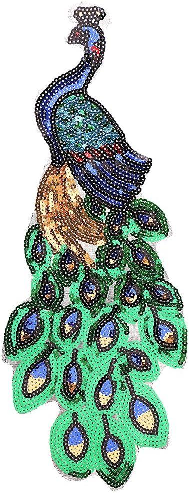 Gazechimp Aufnäher Bügelbild Aufbügler Iron On Patches Applikation Kinder Baby Vogel Pfau Paradiesvogel Multicolor 16 X 42cm Küche Haushalt