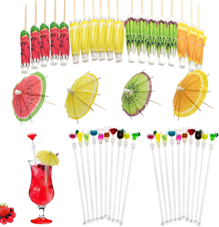 Uni-Fine 40Pcs Agitador de Cócteles,20 Agitador de Bebidas de Vidrio + 20 Paraguas de Cóctel con Copas de Vino de Colores Agitador de Cócteles Adecuado para El Hogar, La Fiesta, El Bar