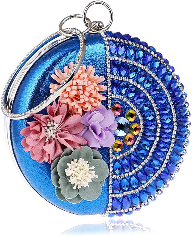 Damenhandtasche Mode Runde Runde Runde Blaume Abendkleid Tasche High-end Party Wilde Wasser Ziegelstein Kette Tasche Umhängetasche,Blau B07L94CCXJ  Umweltfreundlich 6fcfce