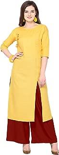 Florence Yellow Slub Cotton Embellished Stitched Kurtis with Palazzo(FL-KT-122-PZ-04)