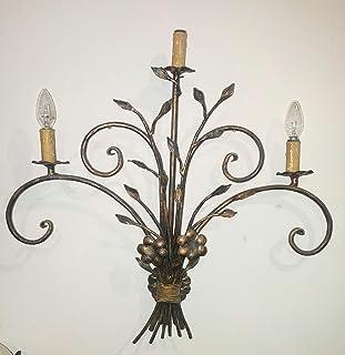 applique a 3 luci, Mazzo di fiori, in ferro battuto