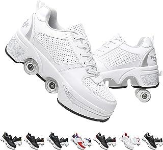 Hmlopx Avslappnade justerbara rullskridskor för flickor/kvinnor deformering parkour skor osynliga fyra runda löpningsskor ...