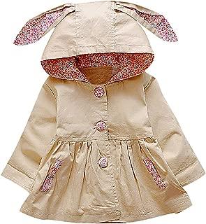Sweety Girls Button Up Floral /& Pleat Details Rabbit Ears Hood Dress Like Coat