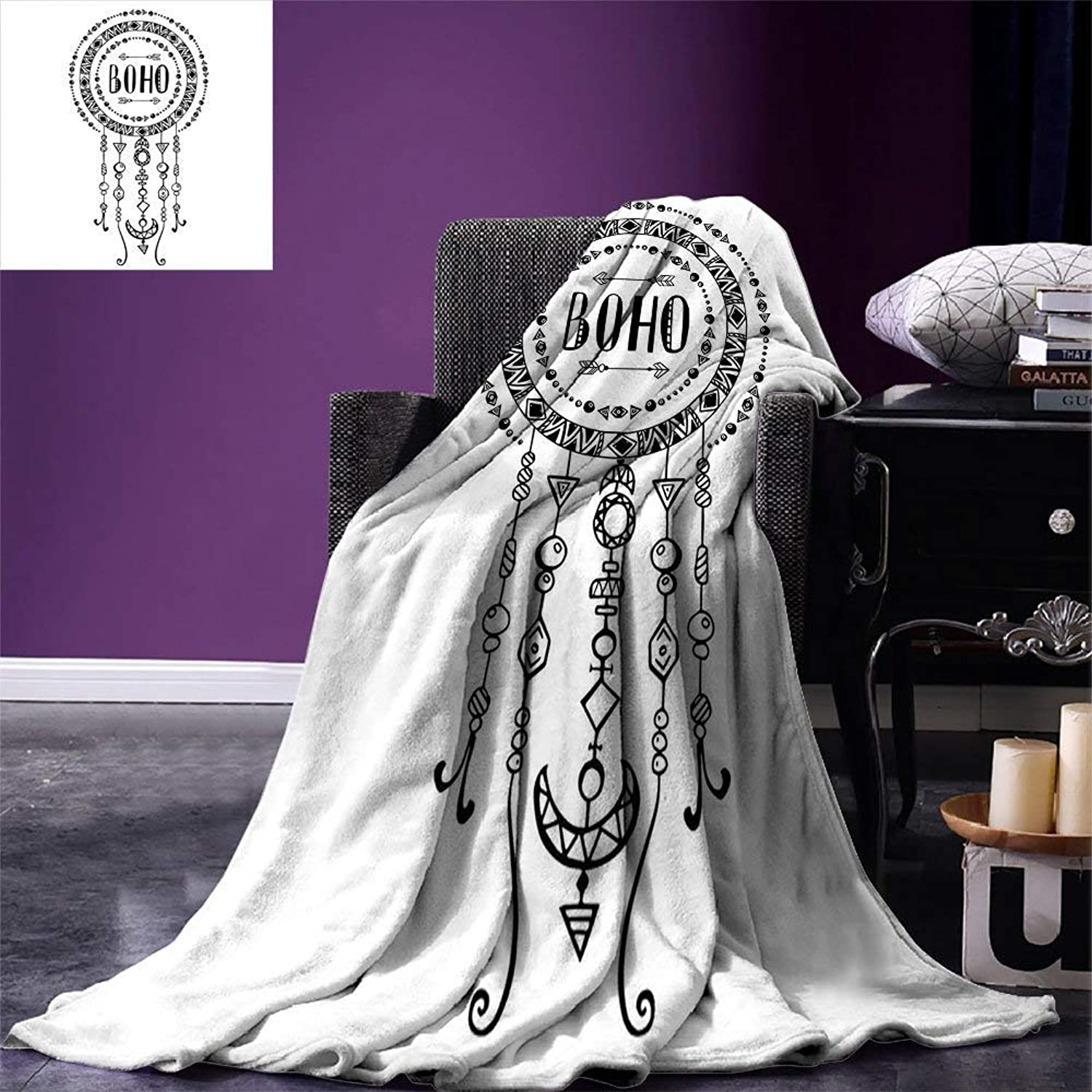VAMIX Native American Throw Blanket Minimalist Boho Native American Form Ethnic Tribal Folkloric Image Velvet Plush Throw Blanket Black White, Blanket