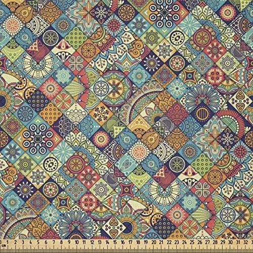 ABAKUHAUS Marroquí Tela por Metro, Adornos Étnicos Orientales, Microfibra Decorativa para Artes y Manualidades, 1M (230x100cm), Multicolor