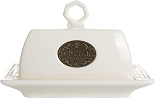 Butter Dish Keeper Large with Lid Cover Cream White & Mint Blue Porcelain (Cream White 6.9'')