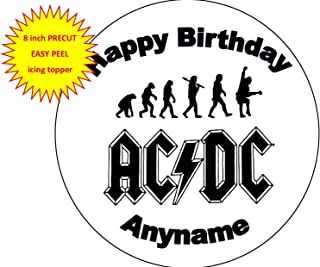 Baking Bling ACDC Rock Band Personalised Name 8 inch Round Edible Icing Cake Topper Decoration