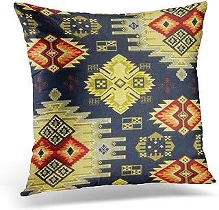 Lfff Funda de Almohada de Colores Patrones de Colores Sudoeste Occidental Tribal Geométrica Marrón País Funda de Almohada Decorativa Funda de Almohada Cuadrada
