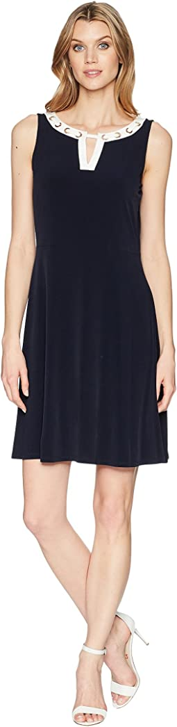 Matte Jersey Hardwear Neck A-Line Dress