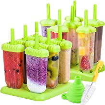 Popsicle Molds 2pcs Ice Pop Molds Ice Pop Maker with Funnel and Cleaning Brush, Green