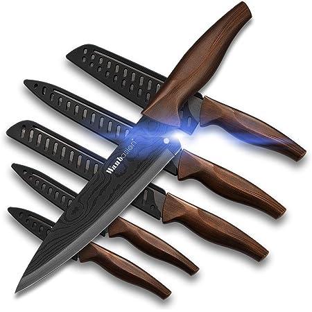 Wanbasion 6 Couteaux Professionnel Ensemble de Couteaux de Cuisine Chef, Couteaux de Cuisine, Jeu de Couteaux en Acier Inoxydable, Set de Couteaux de Cuisine Damas Tranchant