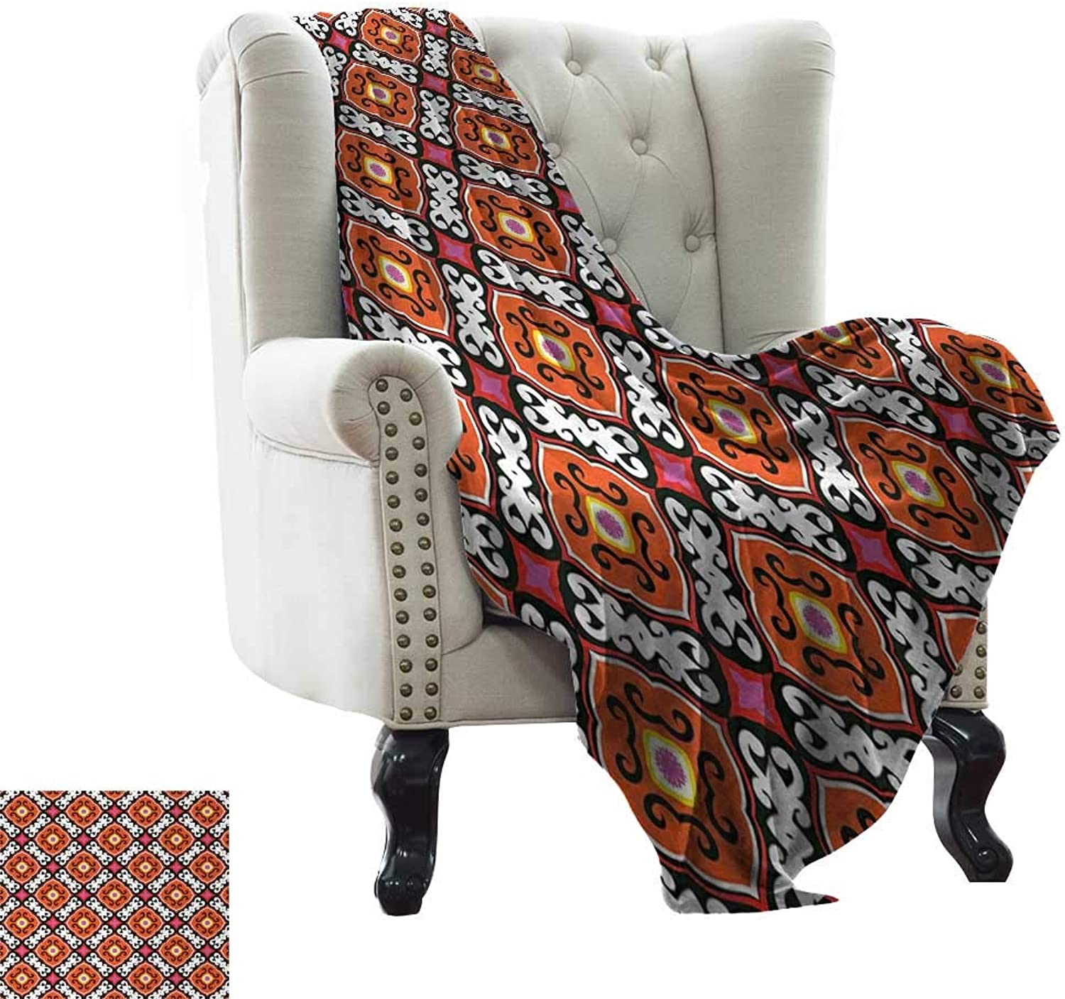 Furry Blanket Turkish Pattern,Bold Floral Motifs with Inspirations from Kazakhstan and Uzbekistan Tiles,Multicolor Weighted for Adults Kids, Better Deeper Sleep 35 x60