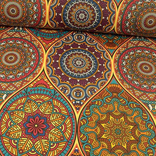Stoffe Werning Beschichteter Baumwollstoff Mandalas bunt PVC Beschichtung - Preis Gilt für 0,5 Meter
