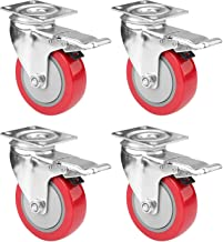KREVIA 4 inch Caster Heavy duty Wheel for Shopping Trolley Office Chair Furniture's -4 PCS-Orange Color (4-INCH)